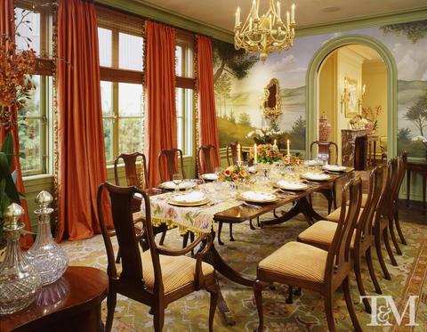Victorian Dining Room with stripped cushions on dining chairs