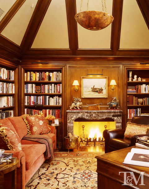 Transitional Library with dark wood stained ceiling beams