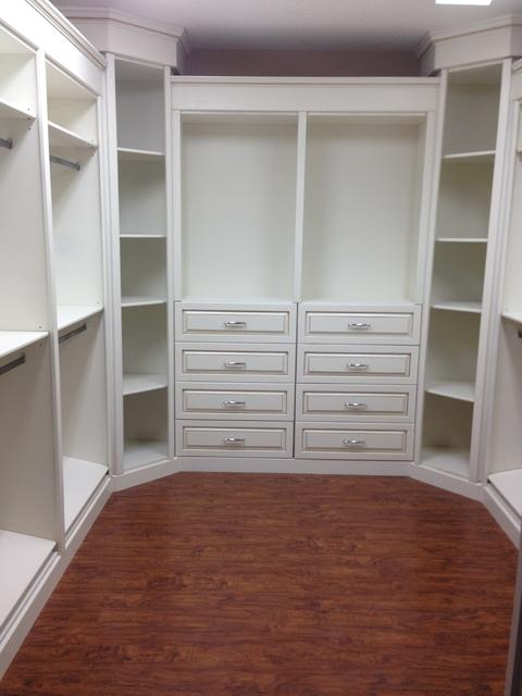 Transitional Closet with custom made shelving
