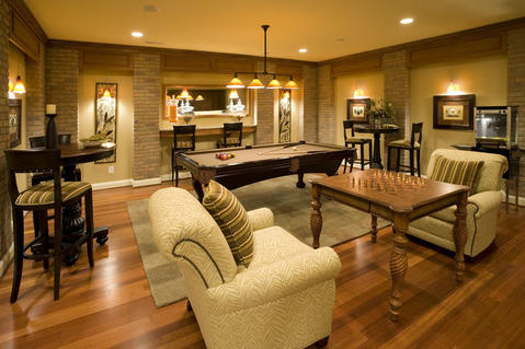 Traditional Family Room with down lighting for pictures
