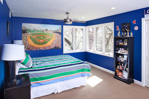 Contemporary Kids Room with electric blue wall paint