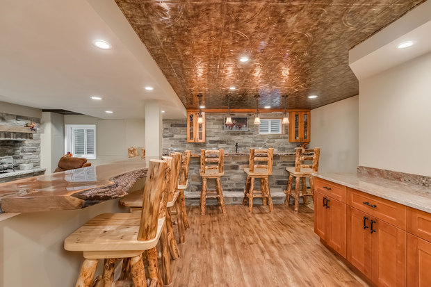 Rustic Basement In Denver Shaker Style Cabinet Stone Bar Counter By Fini