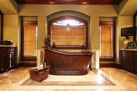 Contemporary Bathroom with wood paneling on ceiling