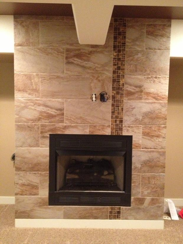 Modern Fireplace In Omaha Vertical Tile Border Gas Fireplace By