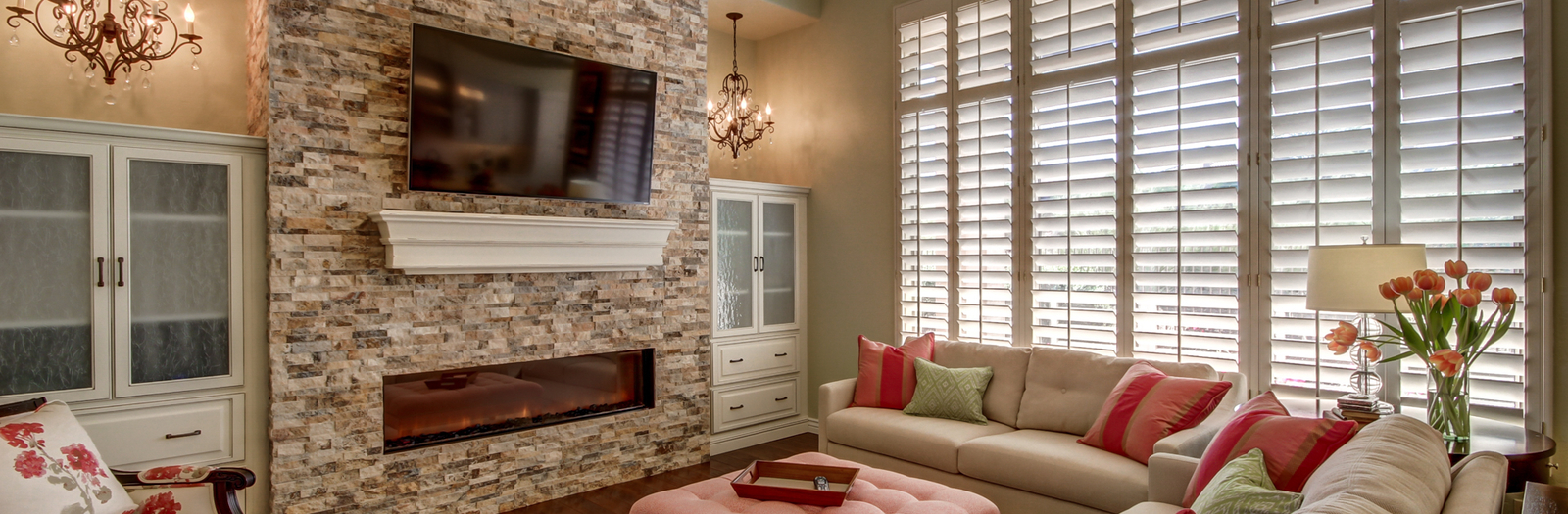 Transitional Library with plantation style shutters