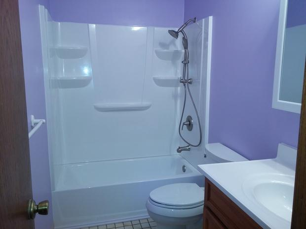 Casual comfortable bathroom in minneapolis periwinkle for Periwinkle bathroom ideas