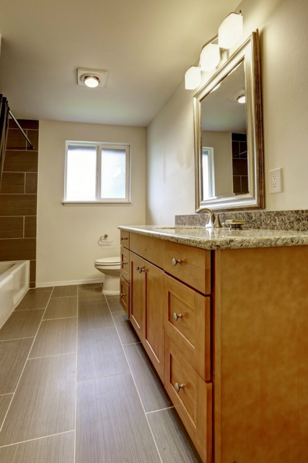 Traditional Bathroom In Tacoma Framed Vanity Mirror Brown Tiled Shower Wall By Crossover