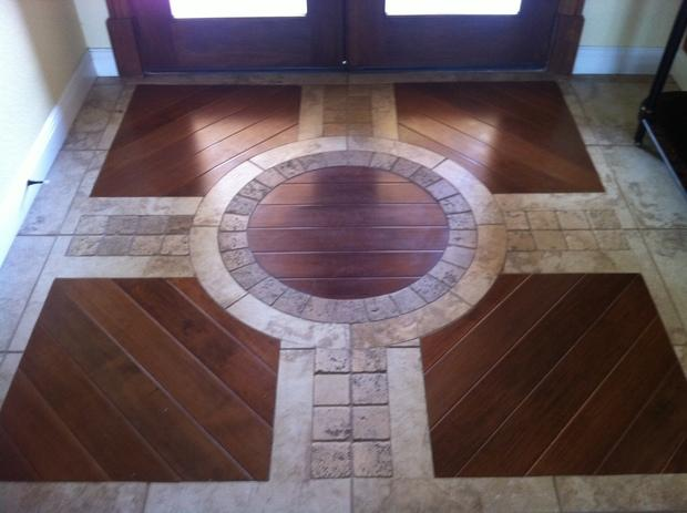 Tuscan Entry In Palm Bay Decorative Tile Inlay Windowed Entry