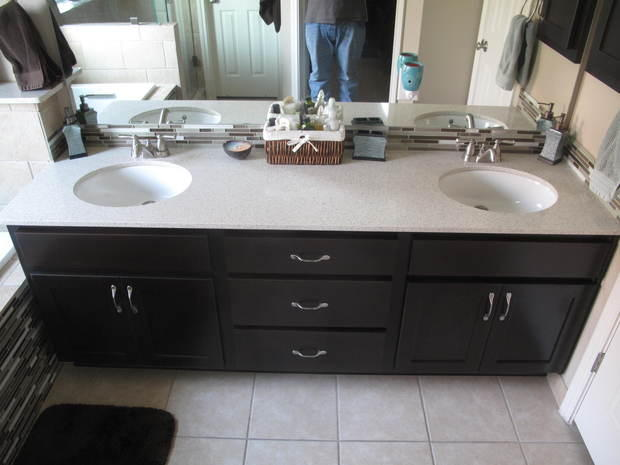 Contemporary Bathroom In San Antonio Duel Sink Counter Under Mount Sink By Gill Plumbing