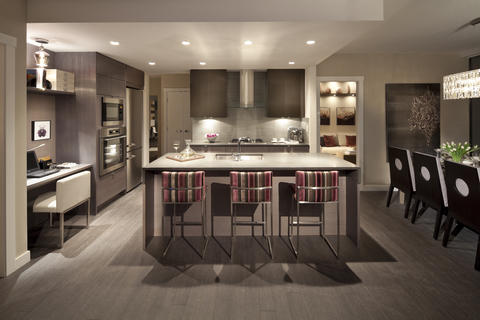 Modern Kitchen with striped upholstery barstools