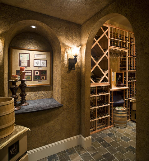 Tuscan Wine Cellar with dark brown walls