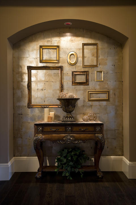 Transitional Entry with gold vintage frame collection