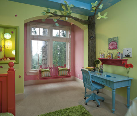 Eclectic Kids Room with wall to wall carpet