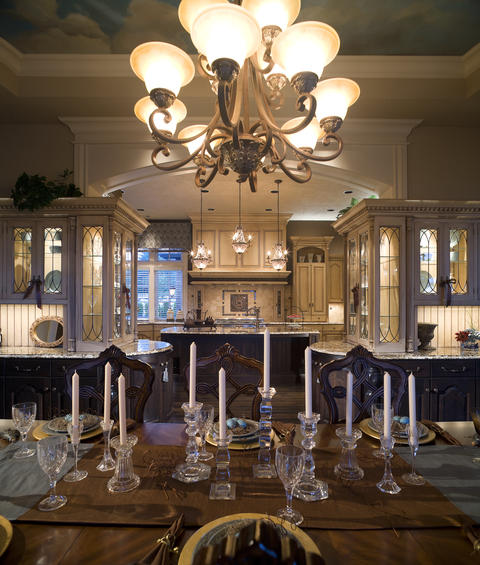 Traditional Dining Room with tufted upholstered window valance