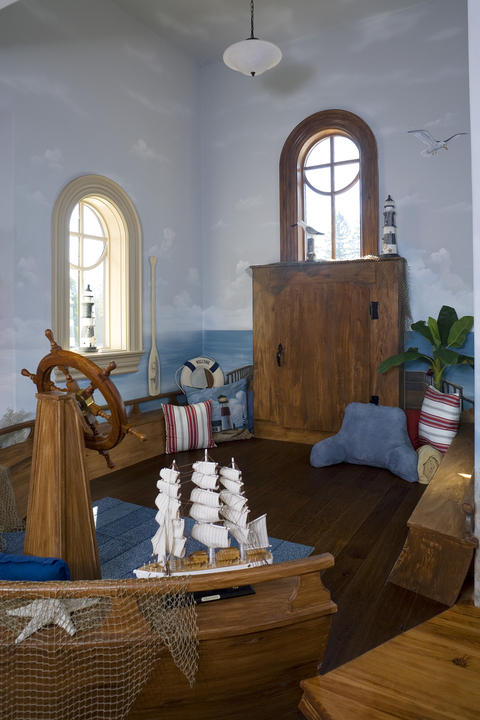 Traditional Kids Room with sea and sky mural