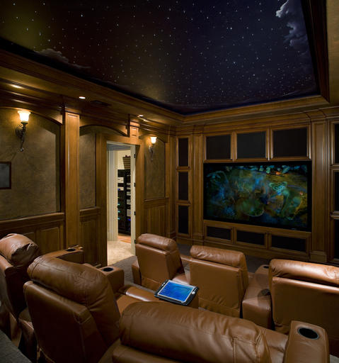 Traditional Home Theater with night sky painted mural on ceiling