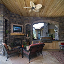 Traditional Patio with natural wood stained ceiling