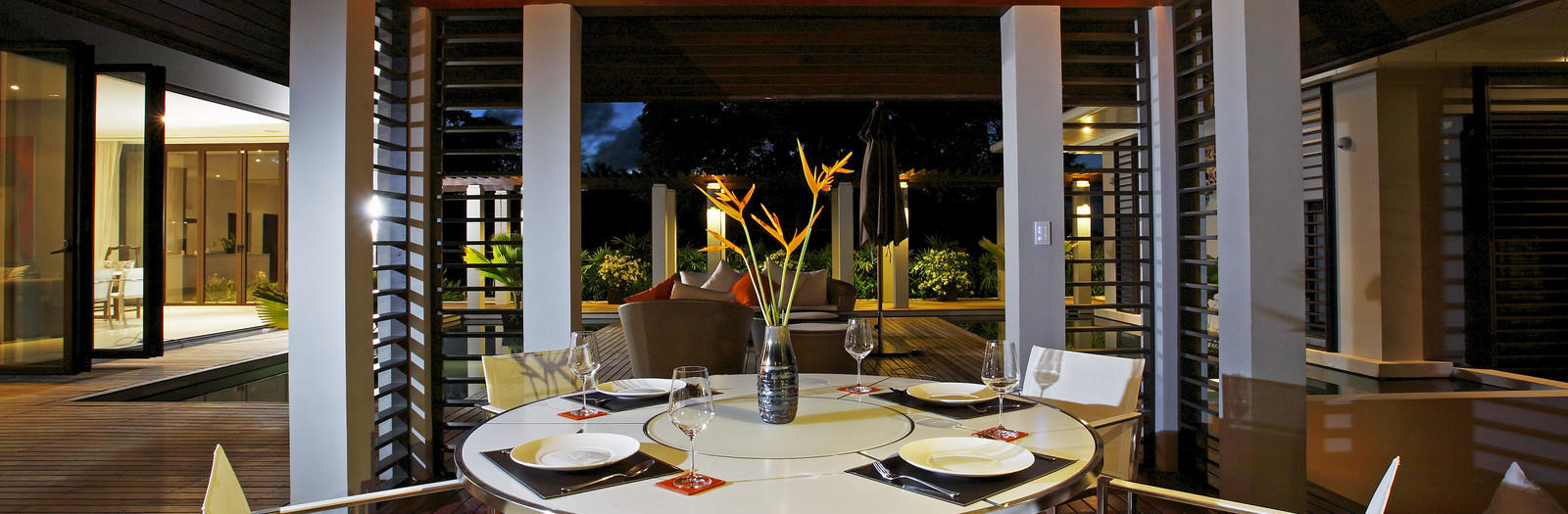 Asian Patio with metal white outdoor furniture