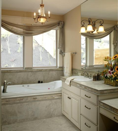 Traditional Master Bathroom with elevated countertops