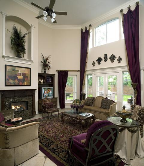 Traditional Family Room with light beige painted walls
