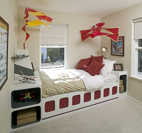 Contemporary Kids Room with wall to wall carpet