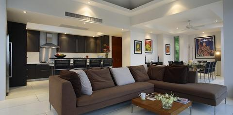 Contemporary Family Room with stainless steel appliances