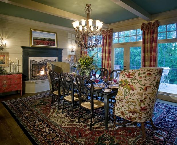 Traditional dining room photo blue ceiling plaid for Traditional red dining room