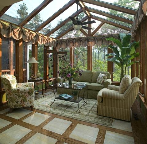 add to traditional sunroom with floral upholstered chair - Sunroom Ideas