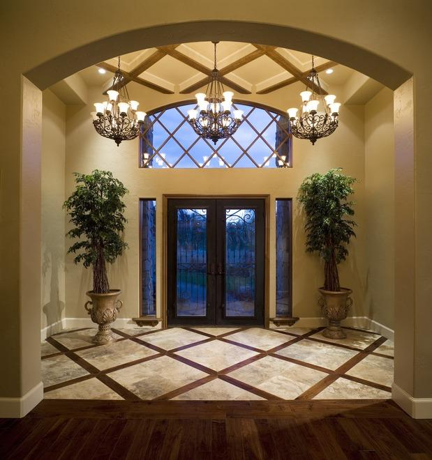 Tuscan Entry Photo Light Tan Walls Black Accent By