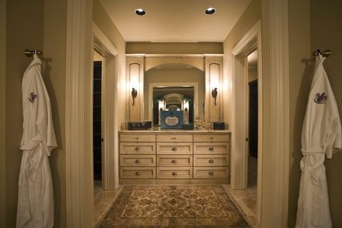 Traditional Master Bathroom with off white painted millwork