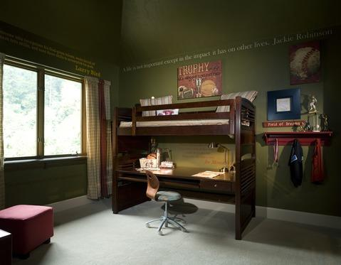 Eclectic Kids Room with rod pocket drapery