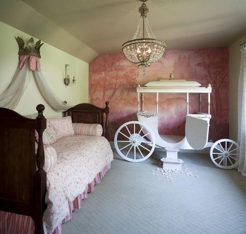 Traditional Kids Room with beige painted walls