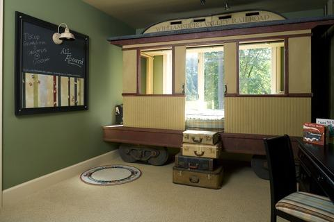 Eclectic Kids Room with williamsburg valley railroad