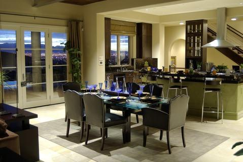 Modern Dining Room with steel and black bar stools