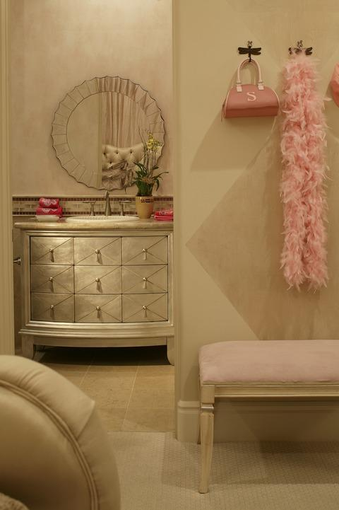 Transitional Bedroom with silver plated vanity dresser
