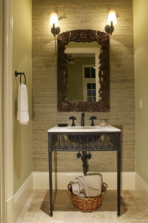Traditional Powder Room with oil rubbed bronze fixture