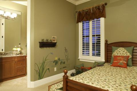 Traditional Bedroom with large frame less mirror