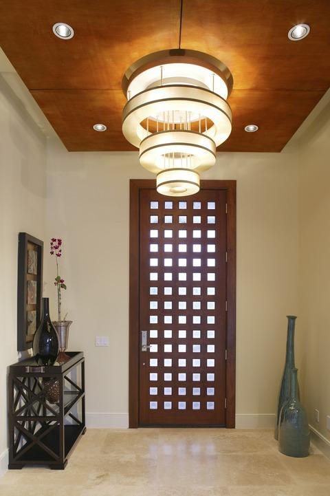 Modern Entry with wood and glass door