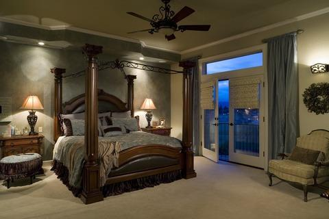 Traditional Bedroom with leather upholstered head boards