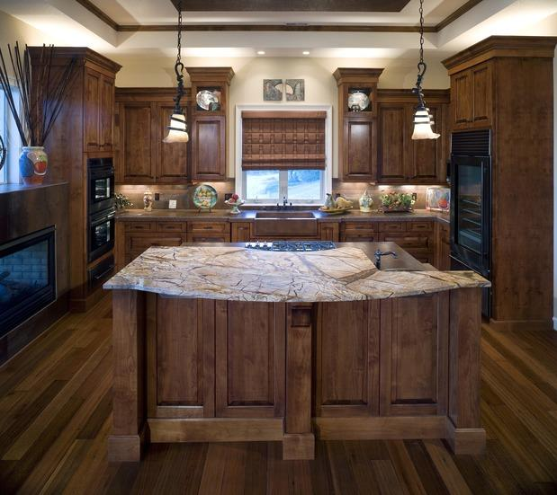 Marble countertop in traditional kitchen