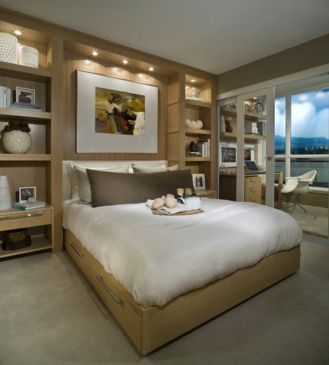 Modern Bedroom with light wood bed frame