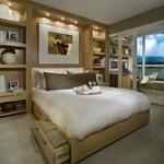 Contemporary Bedroom with making the most of small space