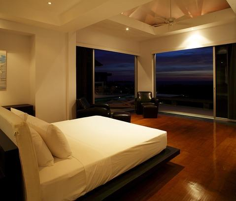 Contemporary Master Bedroom with recessed ceiling lights