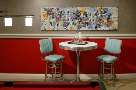Modern Dining Room with colorful contemporary wall art