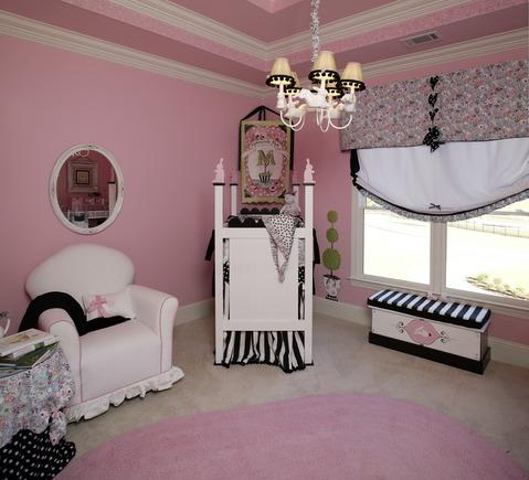 Traditional Kids Room with black and white striped fabric