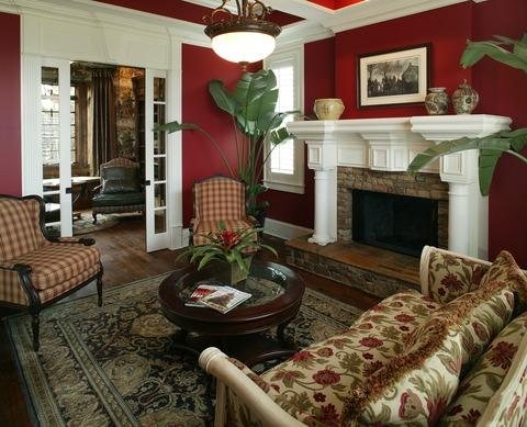 Traditional Living Room with white paneling around fireplace