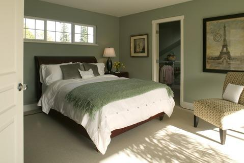 Transitional Bedroom with light teal green painted walls