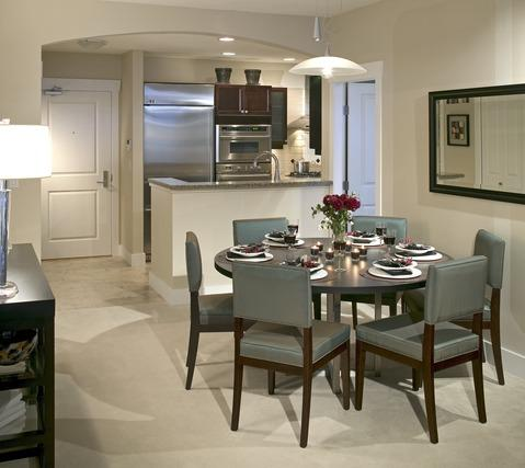 Modern Dining Room with stainless steel appliances
