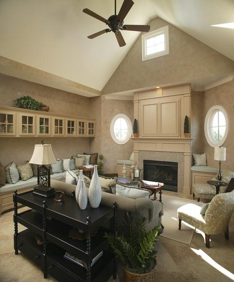 Transitional Family Room with wall mounted cabinets