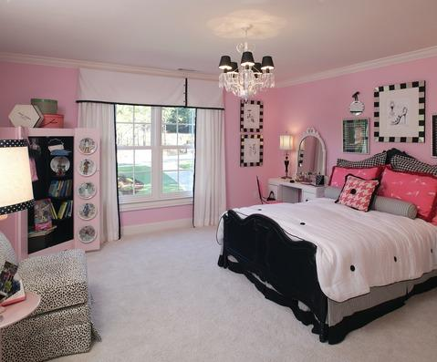 Transitional Kids Room with white and black custom window treatment